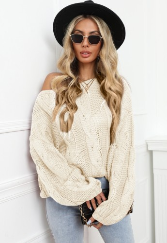 Winter Casual Apricot Langarm Lose Pullover Pullover