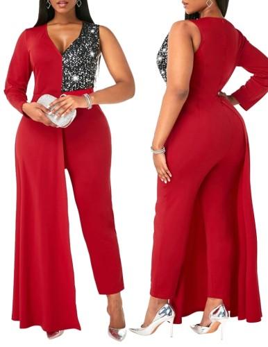 Herbst Elegant Plus Size Red Pailletten Patch Ein Ärmel Cocktail Jumpsuit
