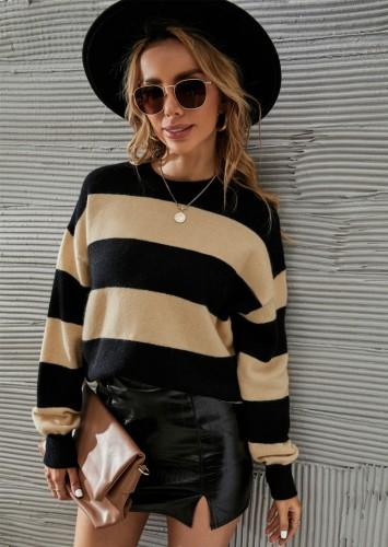 Winter Lässiger Pullover mit Rundhalsausschnitt in Schwarz und Khaki