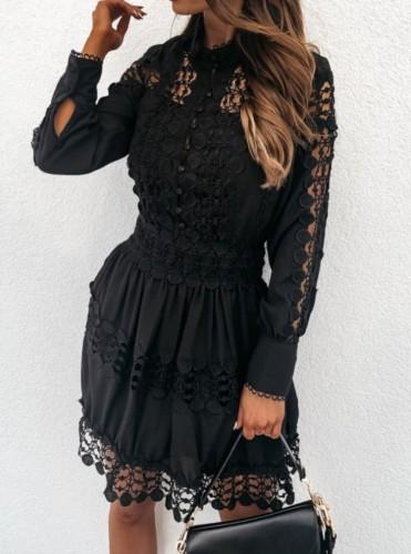 Mini vestido casual de manga larga con botones ahuecados en negro sexy de otoño