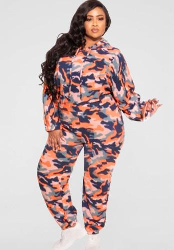 Herbst Plus Size Orange Camouflage Print Langarm Hoodies Top und Hose Zweiteiliges Set