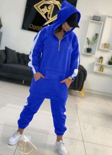 Deportes de invierno Sudaderas con capucha largas y pantalones deportivos con cremallera en contraste azul Sudaderas de dos piezas