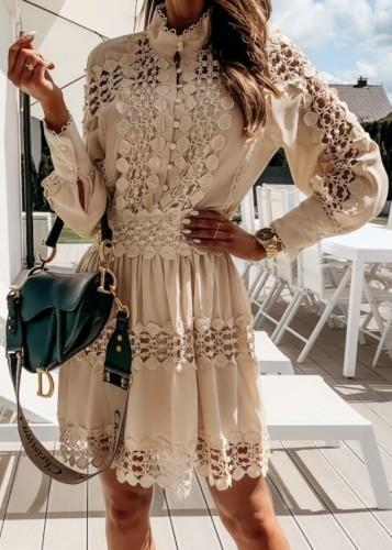 Mini vestido casual de manga larga con botones ahuecados caqui sexy de otoño