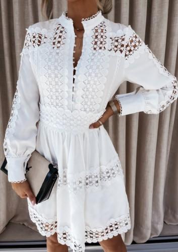 Mini vestido casual de manga larga con botones ahuecados en blanco sexy de otoño
