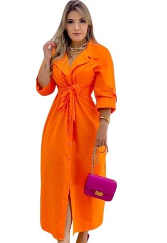Herbst Casual Orange Umlegekragen Button Up Casual Langes Kleid mit Gürtel