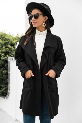 Abrigo estilo cárdigan suelto con bolsillo de cuello vuelto negro con estilo de invierno