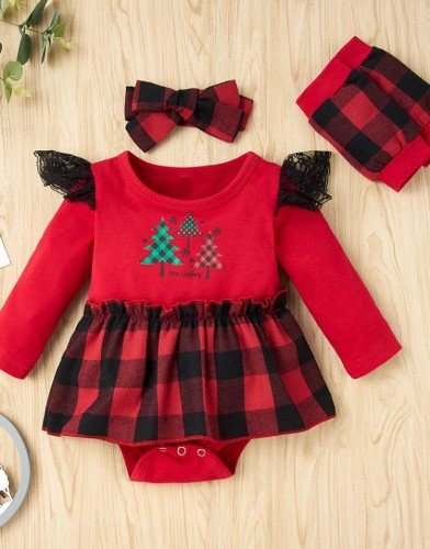 Winter Baby Girl Christmas Print Kleid mit Schleifen und Ärmeln