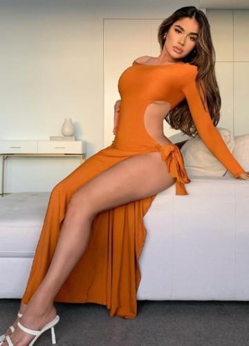 Herbst Sexy Orange One Shoulder Langarm Aushöhlen Geschlitztes Langes Kleid