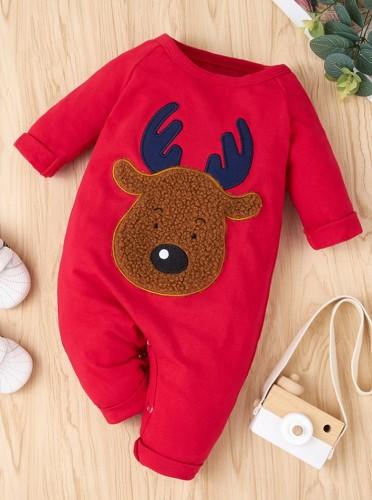 Mameluco con apliques de ciervos navideños rojos de cuerpo de bebé de invierno