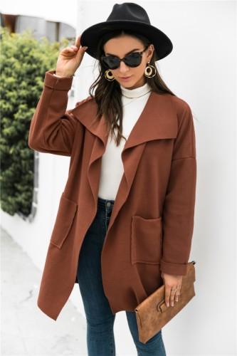 Abrigo estilo cárdigan suelto con bolsillo con cuello de cobertura marrón de invierno