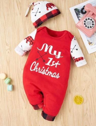 Winter-Baby-Mädchen-Weihnachts-Print-Strampler mit Hut