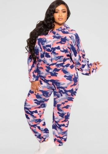Herbst Plus Size Lila Camouflage Print Langarm Hoodies Top und Hose Zweiteiliges Set