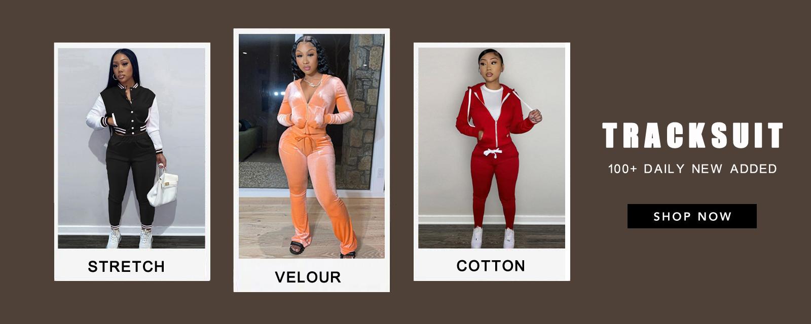 Herbstliches, kontrastfarbenes, kurzes Oberteil und Hosen-Trainingsanzug