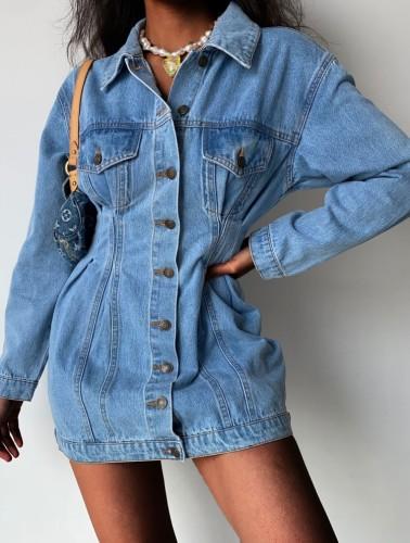 Mini vestido de mezclilla con botones y cuello vuelto azul de moda de invierno
