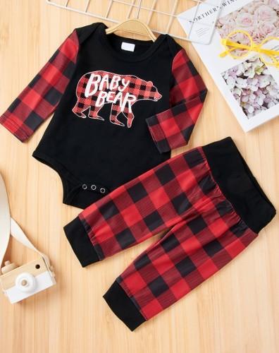 Conjunto de mono con parche pirnted de invierno para bebé niño y pantalón de cuadros rojos