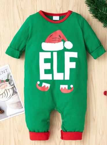 Mameluco verde de la impresión del sombrero de la Navidad del cuerpo del bebé del invierno