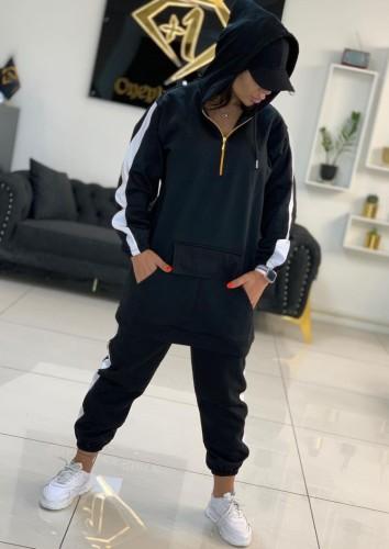 Deportes de invierno Sudaderas con capucha largas y pantalones deportivos negros con cremallera en contraste Sudaderas de dos piezas