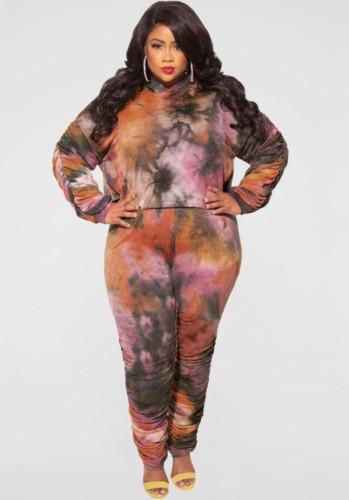 Winter Plus Size Braun Batik Hoodies Langarm Top und Hose Zweiteiliges Set