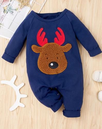 Mameluco con apliques de ciervos navideños azules de cuerpo de bebé de invierno
