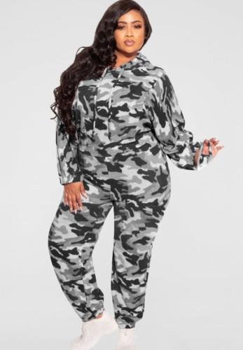 Herbst Plus Size Grau Camouflage Print Langarm Hoodies Top und Hose Zweiteiliges Set