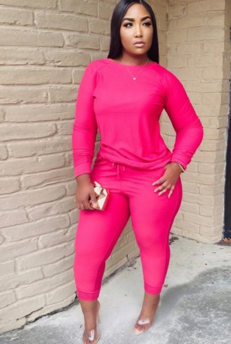 Conjunto de pantalón y top de manga larga rosa rosa casual de talla grande de invierno