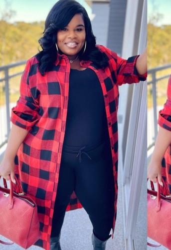 Abrigo de camisa larga de gran tamaño de cuadros rojos casuales de talla grande de otoño