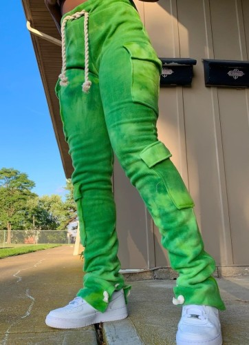 Winter Casual Grüne Batikhose mit gestapelten Taschen