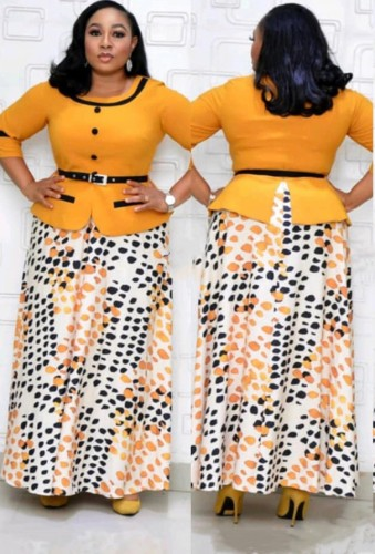 Herbst Plus Size Mutter der Braut Gelbes Formales langes Kleid mit Gürtel