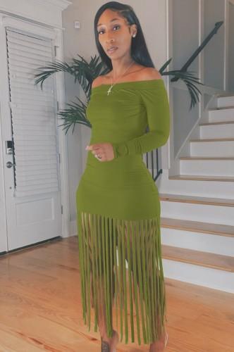 Herbst Sexy Grünes Schulterfreies Quasten Fransen Langes Kleid
