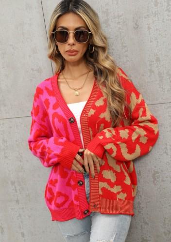 Winter Casual Rot Kontrast V-Ausschnitt Button Up Loser Pullover