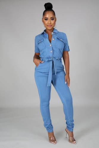 Herbst Casual Blau Taschen Mit Gürtel Kurzarm Jeans Overall