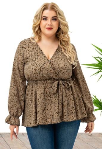 Herbst Elegante Plus Size Print V-Ausschnitt mit Gürtel Bluse