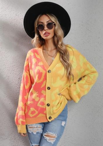 Winter Casual Gelb Kontrast V-Ausschnitt Button Up Loser Pullover