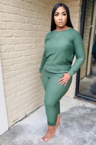 Conjunto de pantalón y top de manga larga verde casual de invierno de talla grande