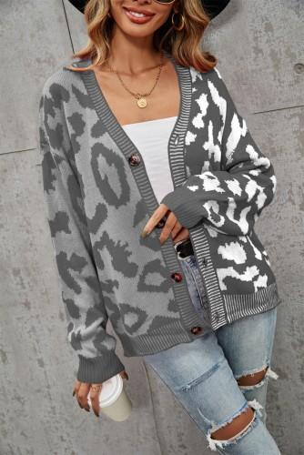 Winter Casual Grau Kontrast V-Ausschnitt Button Up Loser Pullover