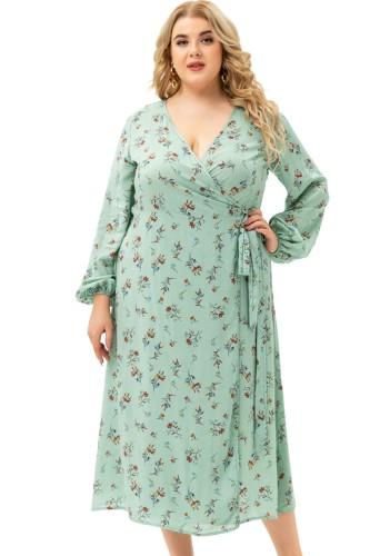Herbst Elegant Plus Size Print V-Ausschnitt Langarm Schlitz Langes Kleid