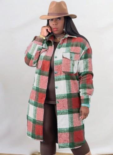 Abrigo de camisa larga de gran tamaño a cuadros rojos casuales de invierno
