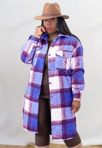Abrigo de camisa larga de gran tamaño a cuadros morado informal de invierno