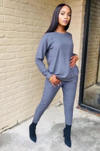 Conjunto de pantalón y top de manga larga gris informal de invierno de talla grande