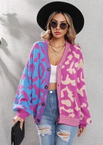 Winter Casual Lila Kontrast V-Ausschnitt Button Up Loser Pullover
