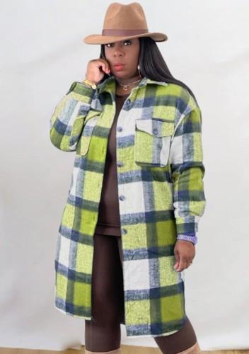 Abrigo de camisa larga de gran tamaño a cuadros verde informal de invierno