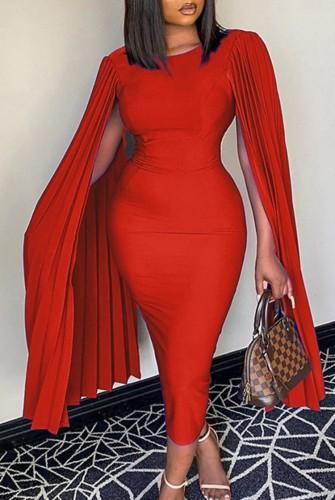 Herbst Plus Size Elegantes Rot Plissee Uhr Ärmel O-Ausschnitt Schlankes Formales Partykleid