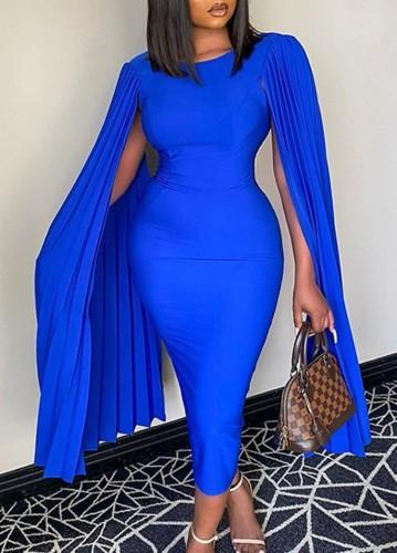 Herbst Plus Size Elegant Blau Plissee Uhr Ärmel O-Ausschnitt Schlankes Formales Partykleid
