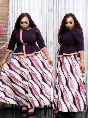 Herbst Plus Size Brautmutter Lila Formales langes Kleid mit Gürtel