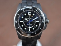 シャネルChanel J12 (Best version)Full Black Ceramic Black Dial Swiss Eta 2824-2自動巻き