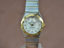 オメガOmega Constellation 28mm TT Pearl white dial Swiss ronda クオーツ