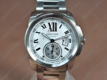 カルティエCartier Calibre de Cartier SS White Dial on SS Bracelet A-2824自動巻き