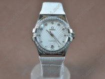 オメガOmega Constellation Ladies SS/Dia/LE White Swiss Ronda Quartzクオーツ