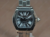 カルティエCartier Men Roadster SS/SS Black dial A-2824-2自動巻き