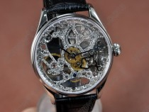 IWC F A Jones SS Decorated Skeleton Dial Decorated Bridges手巻き
